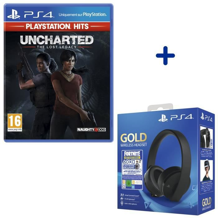 Pack PlayStation : Uncharted: The Lost Legacy PlayStation Hits + Casque Sans Fil Sony Gold + Voucher Fortnite