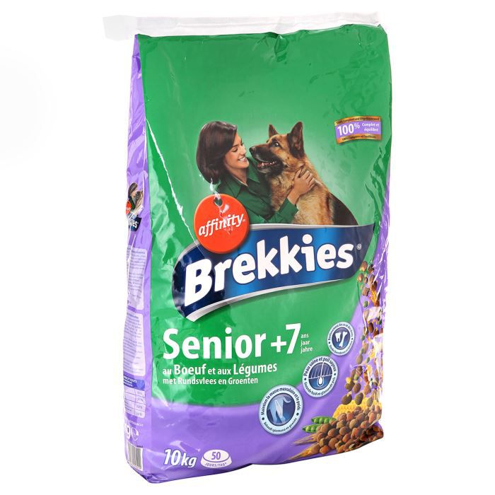 BREKKIES Croquettes au bœuf et aux légumes - Pour chien senior - 10kg