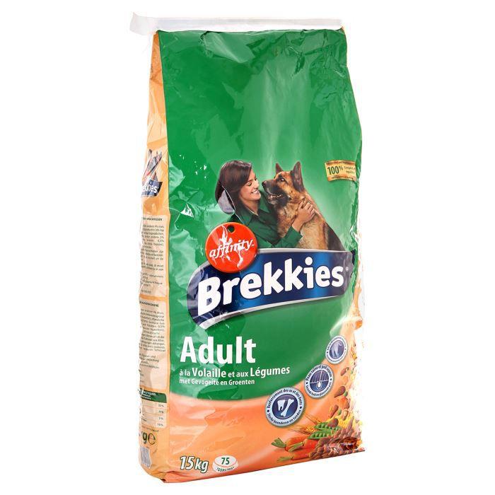 BREKKIES Croquettes à la volaille et aux légumes - 15kg - Pour chien adulte