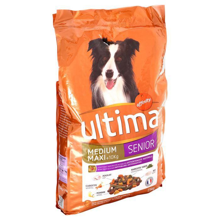 ULTIMA Croquettes au poulet, aux légumes, au pomme et au riz - 7,5kg - Pour chien senior