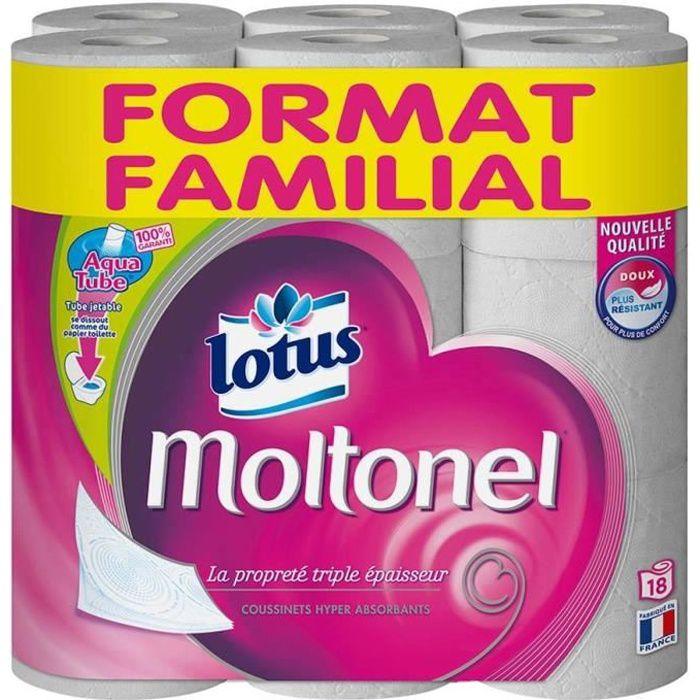 LOTUS MOLTONEL Papier hygiénique format familial - 18 rouleaux