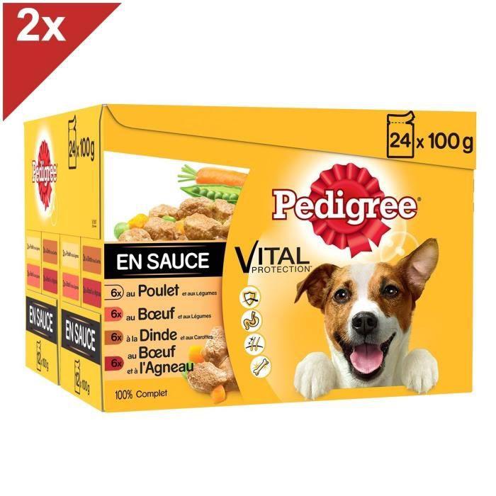 PEDIGREE Sachets fraîcheur en sauce - 4 variétés - Pour chien adulte - 24 x 100 g (x2)