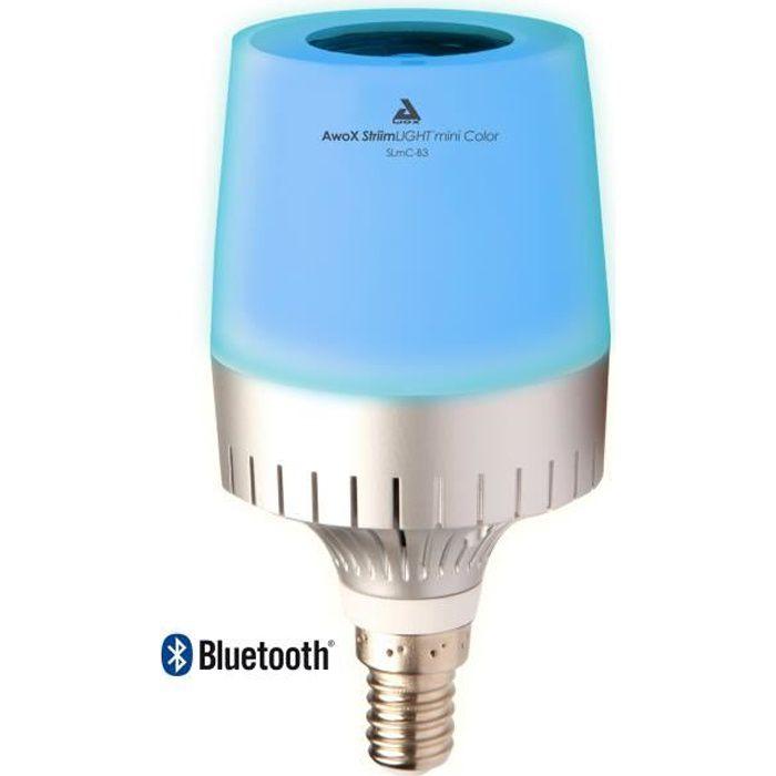 AWOX Ampoule E14/E26 LED Couleur connectée SLMC-B3-E14 + Enceinte musicale Bluetooth