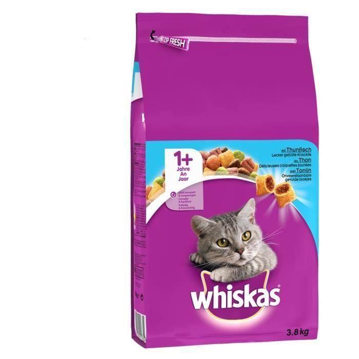 WHISKAS Croquettes au thon - Pour chat adulte - 3 x 3,8 kg