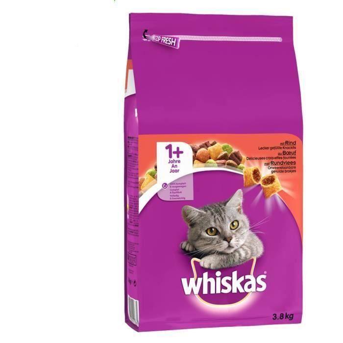 WHISKAS Croquettes au boeuf - Pour chat adulte - 3 x 3,8 kg
