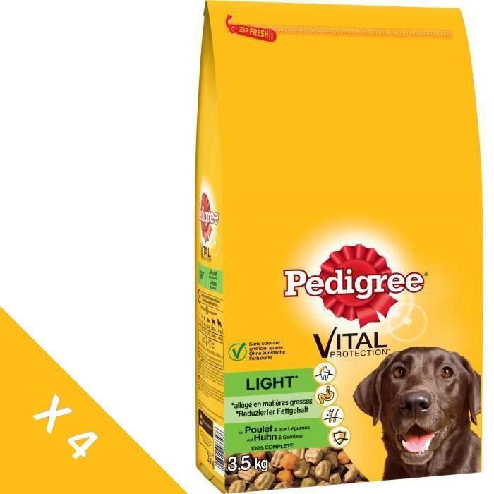 PEDIGREE Croquettes light au poulet et aux légumes - Pour chien adulte - 4 x 3,5 kg