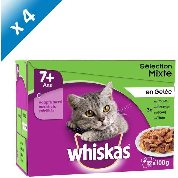 WHISKAS Sachets fraîcheur en gelée - 4 variétés - Pour chat senior stérilisé - 12 x 100 g (x4)