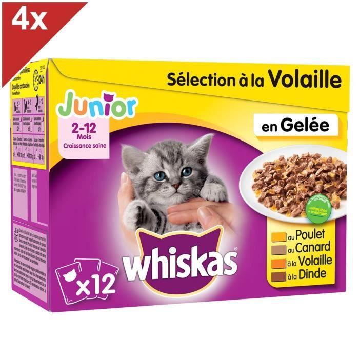 WHISKAS Sachets fraîcheur en gelée - 4 variétés - Pour chaton - 48 x 100 g