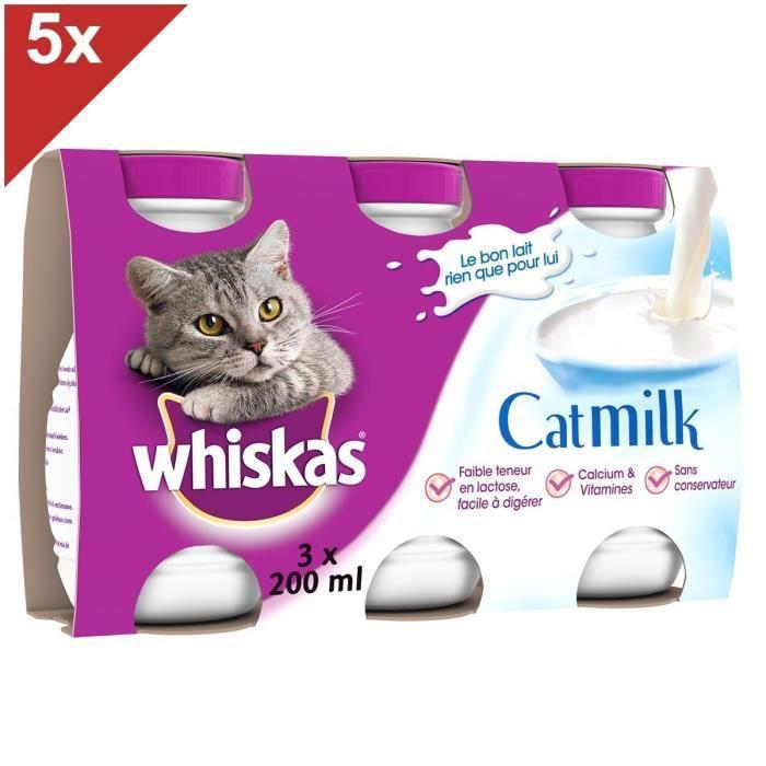 WHISKAS Lait pour chat bouteille 200ml (5x3)
