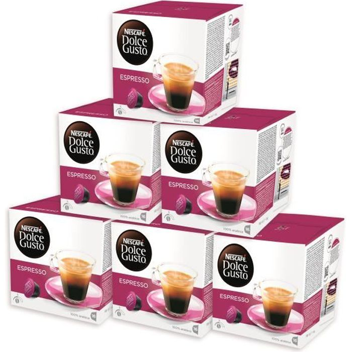 NESCAFE DOLCE GUSTO 6 boîtes Espresso Original de 16 capsules offert