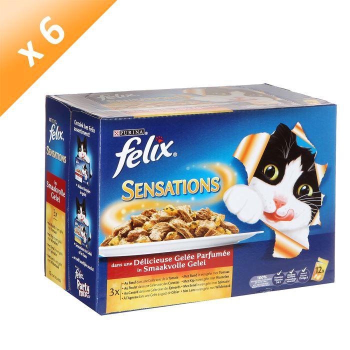 FELIX Sensations en Gelée Viandes - 12 x 100 g (x6) - Pour chat adulte