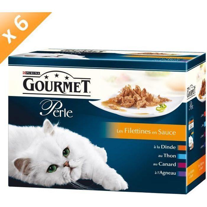 GOURMET PERLE Les Filettines Multivariétés - 12 x 85 g (x6) - Pour chat adulte