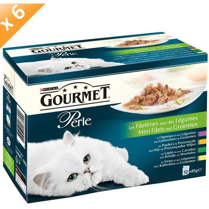 GOURMET PERLE Les Filettines avec des Légumes Multivariétés - 12 x 85 g (x6) - Pour chat adulte