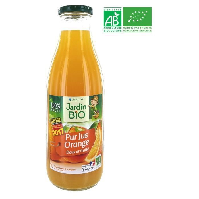 LEA NATURE Pur jus d'Orange JARDIN BIO 1 L Conditionné en France