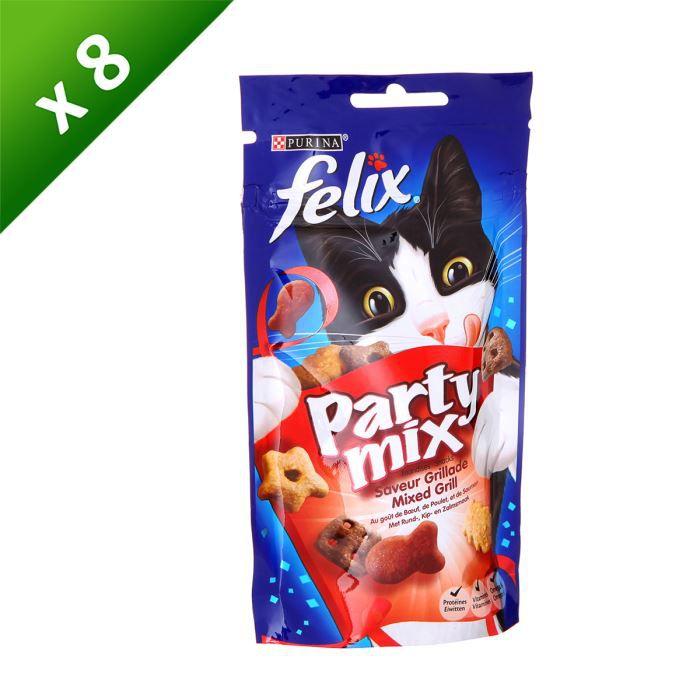 FELIX Friandises Party Mix Saveur Grillade - 60g (x8) - Pour chat adulte