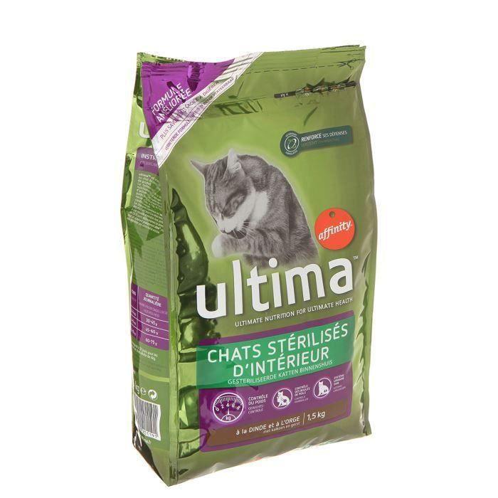 Ultima Croquette pour chat stérilisé intérieur 1,5kg