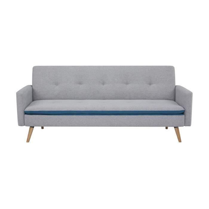 BLANCA Canapé convertible avec accoudoirs - Tissu Gris Bleu -Pieds bois naturel - L 198 x P 83 x H 84 cm