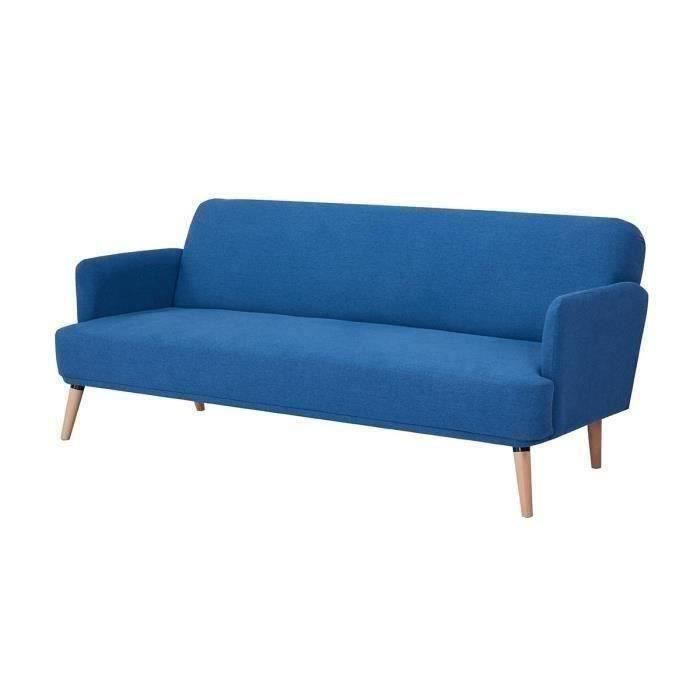 Canapé convertible clic-clac 2 places - Tissu bleu et pieds en bois - L 191 x P 84 x 76 cm - ERNEST