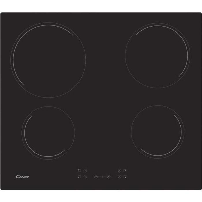 CANDY CH64CCB Plaque de cuisson vitrocéramique - 4 zones - 6500 W - L 56 x P 49 cm - Revêtement verre - Noir