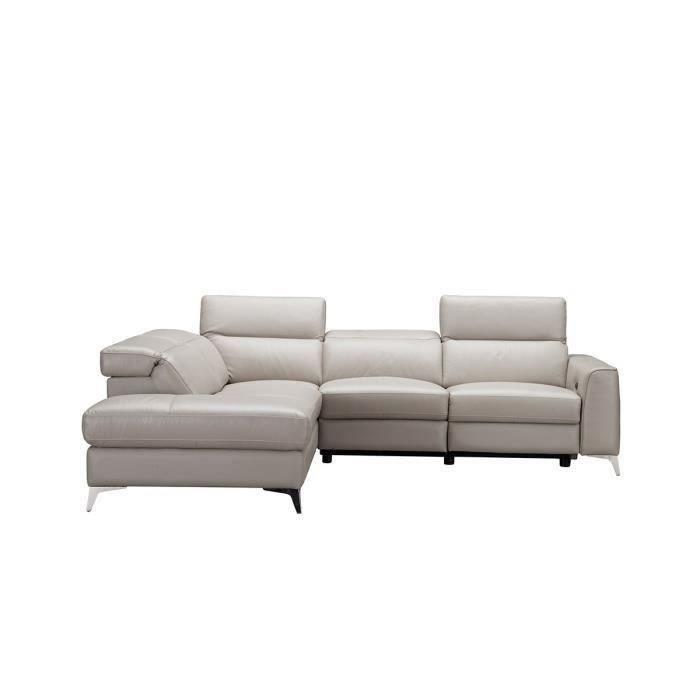 Canapé d'angle gauche avec 1 place relax électrique - Beige - Cuir de vachette - L 275 x P 231 x H 95 cm - EDISON