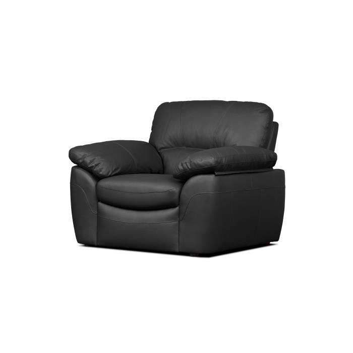 ELVIS Fauteuil fixe - Cuir noir - Style contemporain - L 110 x P 97 cm