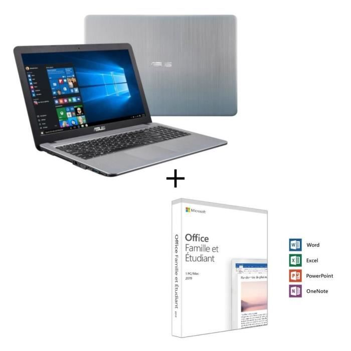 Pc portable asus r540la dm1487t 156 fhd i3 5005u ram 8go stockage 256go ssd 1to hdd microsoft office