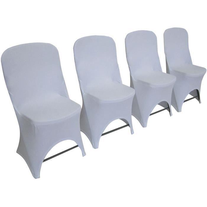 Lot de 4 chaises de jardin pliantes pour réception - 42 x 42 x 87 cm - Structure Grise - Assise Blanche + 4 housses de protection