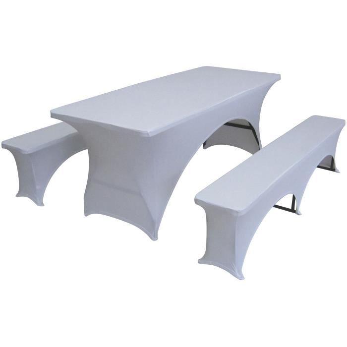 Ensemble de reception pliant - Table 8 personnes 180cm et 2 bancs + Housse de protection