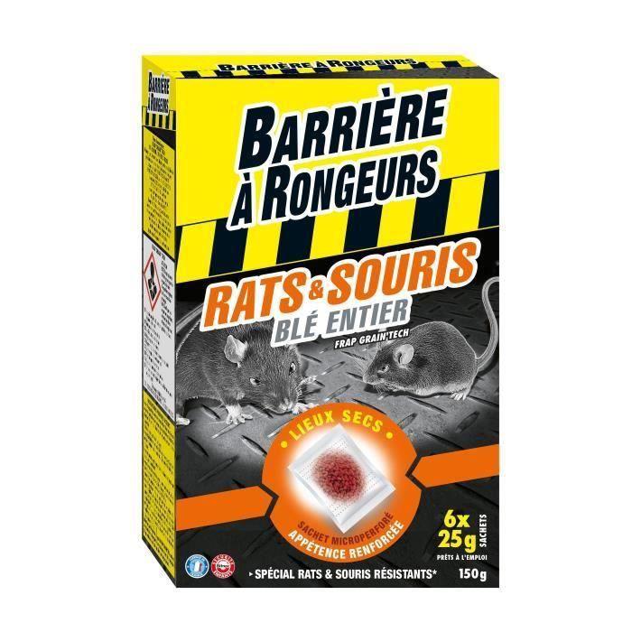 BARRIERE A RONGEURS Appât sur céréales pour rats et souris - Spécial lieux secs - 150 g (Lot de 2)