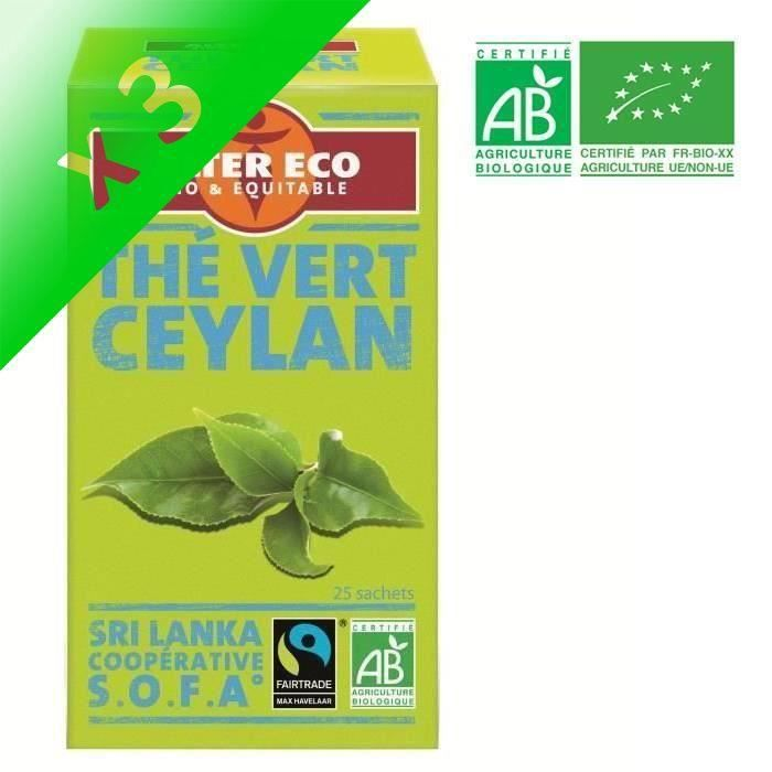 [LOT DE 3] ALTER ECO Thé Vert Ceylan Bio 40g