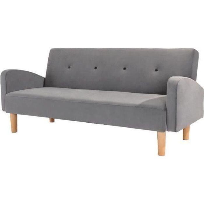 Banquette convertible clic-clac 3 places - Tissu gris et pieds en bois - L 200 x P 83 x H 82,5 cm - OLGA