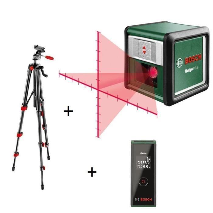BOSCH Pack outils de mesure Laser lignes en croix Quigo+ avec trépied + Télémètre laser Zamo