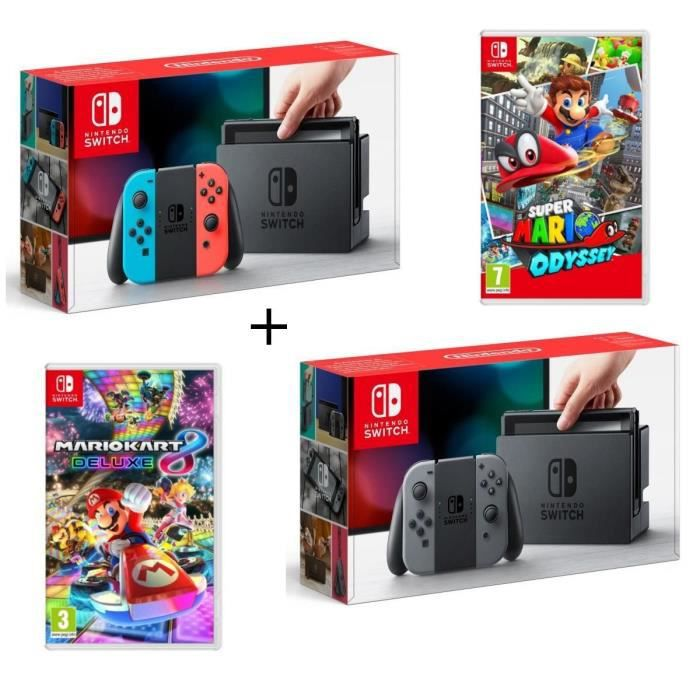Pack 2 Nintendo Switch : 1 Néon + 1 Grise + Super Mario Odyssey + Mario Kart 8 Deluxe