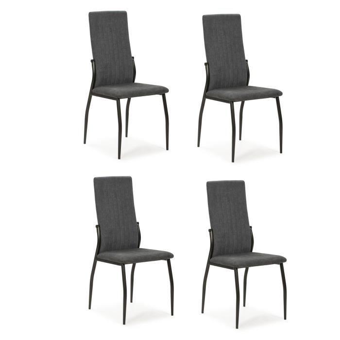Lot de 4 chaises - Tissu Anthracite - L 43 x P 49 x H 102 cm - KELY