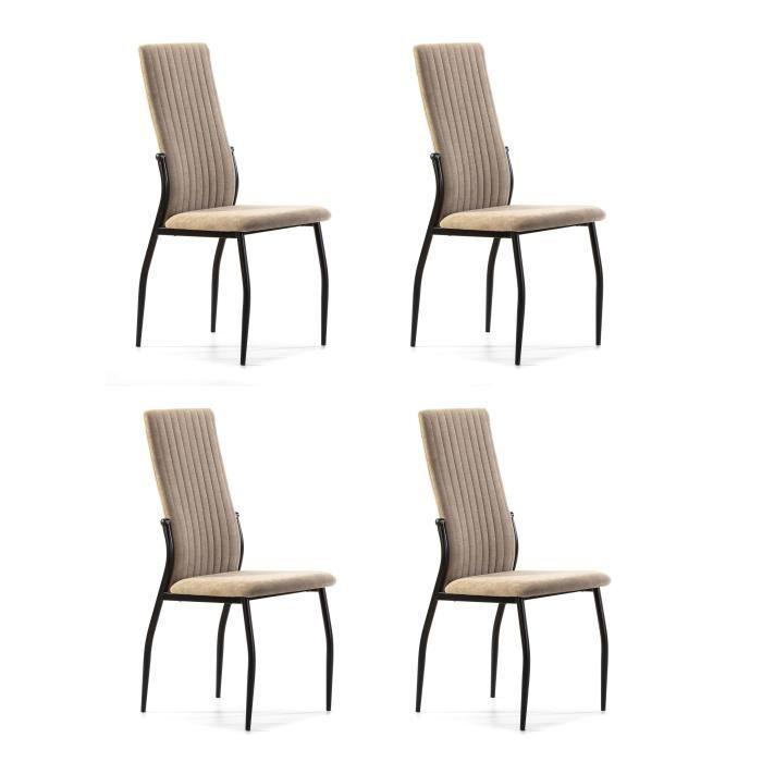 Lot de 4 chaises - Tissu Beige - L 43 x P 49 x H 102 cm - KELY