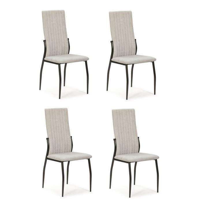 Lot de 4 chaises - Tissu Gris clair - L 43 x P 49 x H 102 cm - KELY