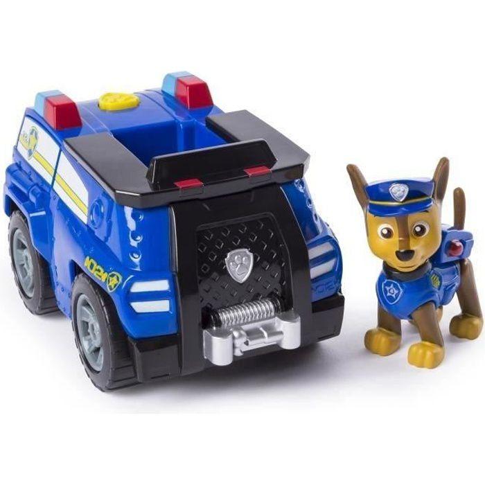 PAT PATROUILLE Figurine bleue Chase + Voiture de Police