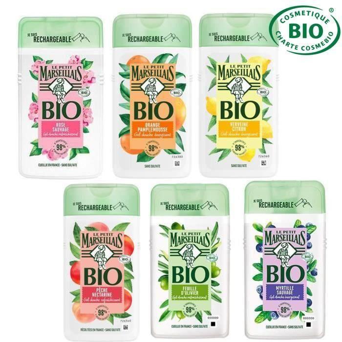 LE PETIT MARSEILLAIS Lot de 6 Gels douches Bio - 6 x 250 ml