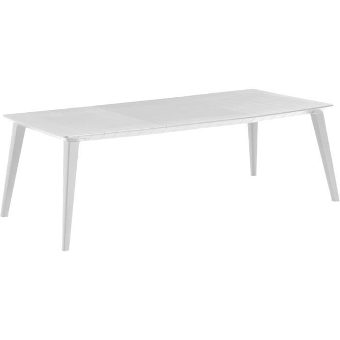 Table Design contemporain 240cm Blanc - ALLIBERT BY KETER - 6 à 10 personnes avec allonge - LIMA