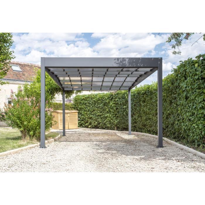 TRIGANO Carport LIBECCIO en aluminium 15,80 m² - Gris anthracite