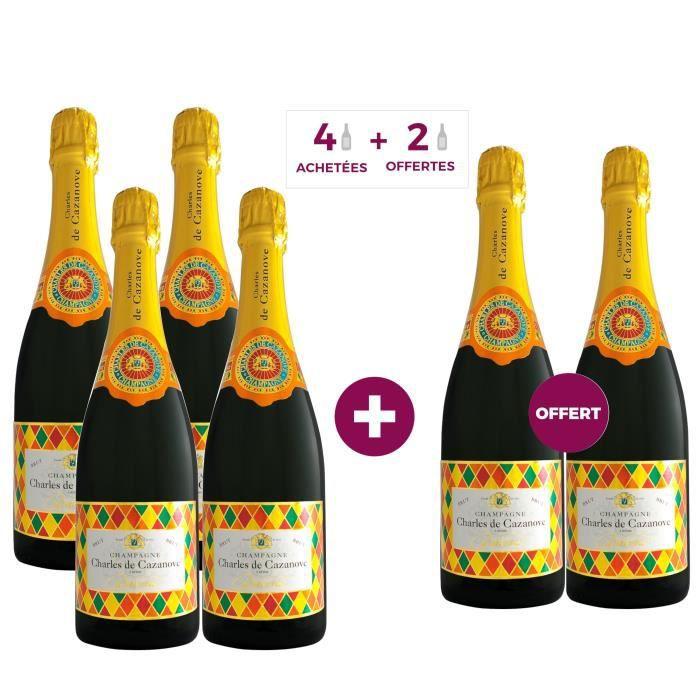 4 achetées + 2 offertes - Champagne Charles de Cazanove Arlequin
