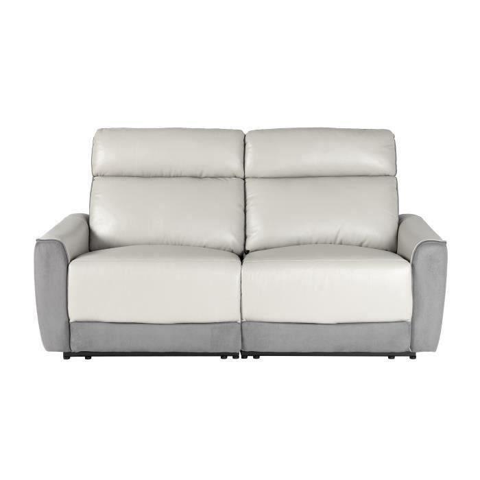 BUNBURY Canapé 3 places dont 2 relax électriques - Cuir gris clair et microfibre gris foncé - L 190 x P 96 x H 103 cm