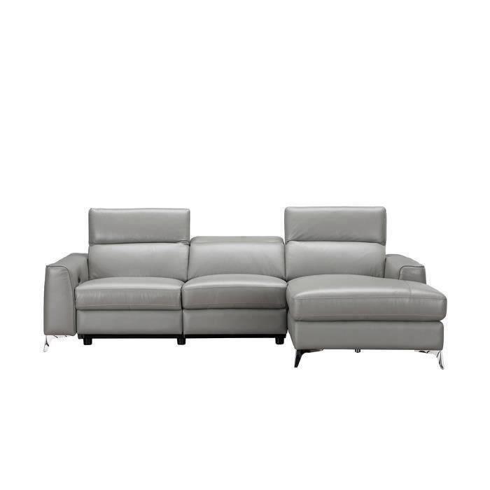 EDISON Canapé d'angle droit contemporain avec 1 place relax électrique Gris - Cuir de vachette - L 266 x P 166 x H 95 cm