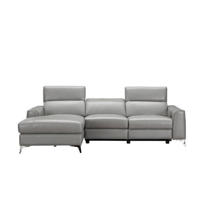 EDISON Canapé d'angle gauche contemporain avec 1 place relax électrique Gris - Cuir de vachette - L 266 x P 166 x H 95 cm