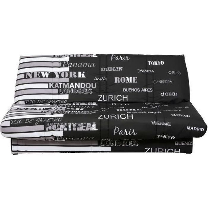 WORLD Banquette Clic Clac 120x190 - Tissu World Noir - Made in France