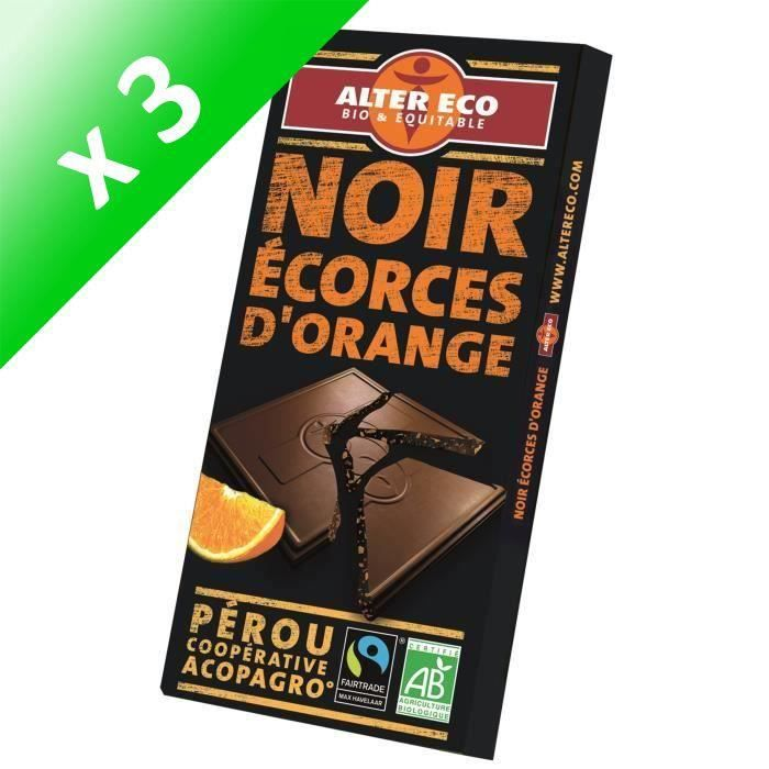 [LOT DE 3] ALTER ECO Chocolat Noir Ecorces d'Orange - Bio - 100 g