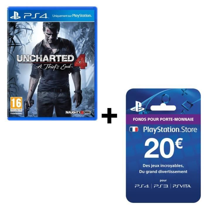 Pack Uncharted 4: A Thief's End Jeu PS4 + Playstation Network Live Card 20€