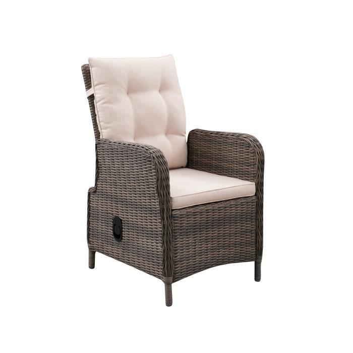 Fauteuil de jardin inclinable en acier et résine tressée - assise et dossier avec coussins - 72,5 x 60,5 x H.95,5 cm - Couleur roti