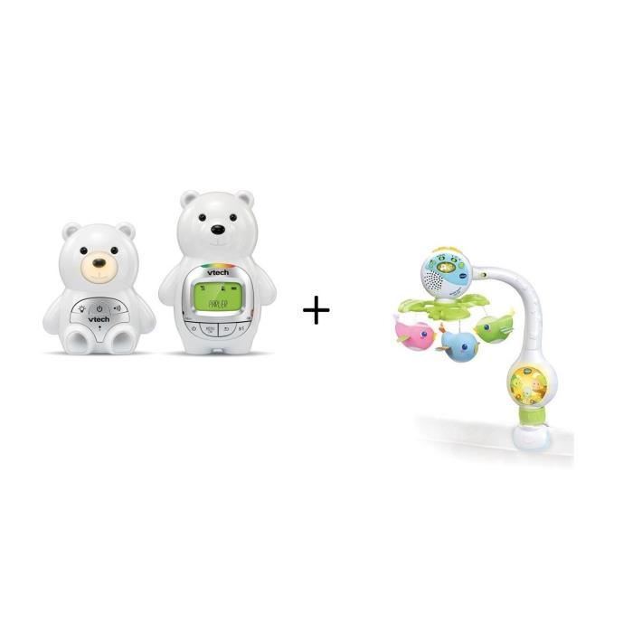 Vtech Babyphone Ourson Family BM2300B et Mobile Tourni Cui Cui