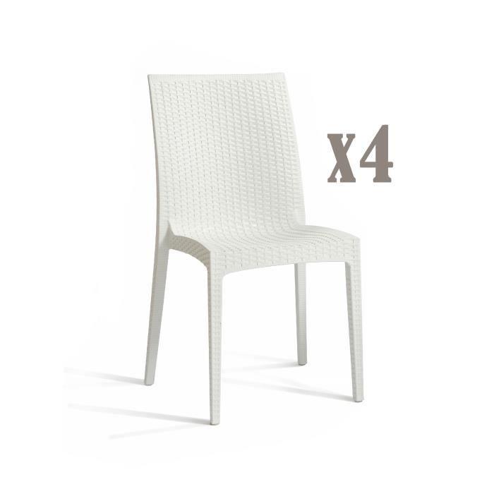 DCB GARDEN Lot de 4 chaises empilables en PVC Cagliari - Blanc